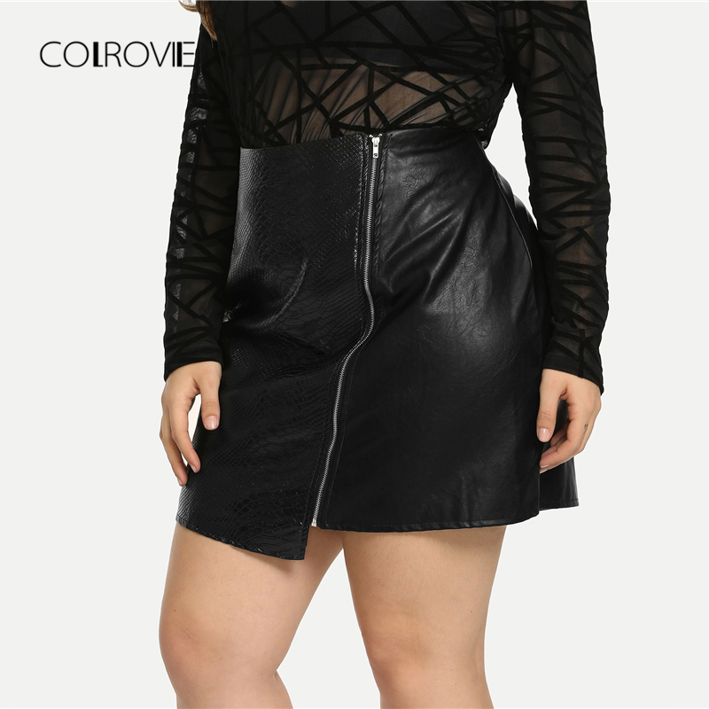 Image 2 - COLROVIE Plus Size Black Solid Zipper Sexy Korean Leather Skirt Women Autumn Female Office A line Elegant Mini Skirts-in Skirts from Women's Clothing