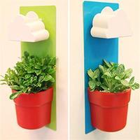 2 Pcs Creative Clouds Rainy Pot Wall Hung Flower Pot Set For Home Decoration Artificial Plants