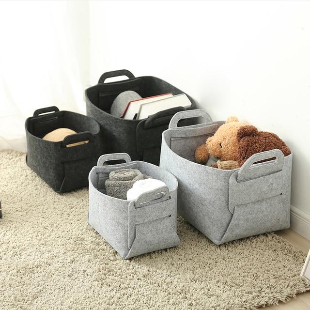 Creative felt storage boxes bins modern home organization for clothing toy fashion folding organizer portable