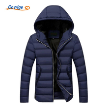 Covrlge Mens Winter Parkas 2017 New Solid Men's Warm Coats Quilted Men Jacket Fashion Hooded Parka Padded Jackets Coat MWM047
