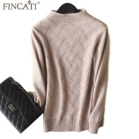 Sweaters Women Autumn Winter High End 100% Goat Cashmere Twist Knit Half Turtleneck Elegent Bottom Shirts Pullovers