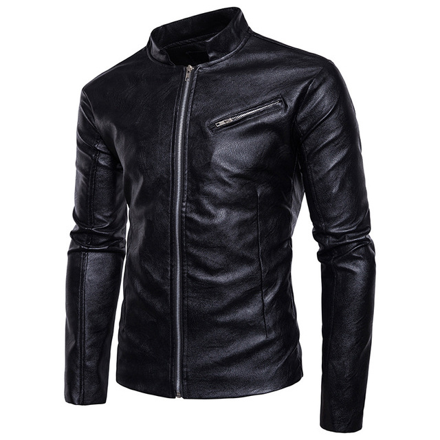 2018 PU Faux Casual Man Jackets Men Leather Jacket Male Coats Spring Casual High Quality Motorcycle Outerwear European sizeS-2XL