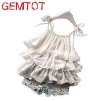 2016 Summer Korean Children S Clothing Girls Suit Chiffon Cake Sling Pants 2pcs Pearl Flower Halter