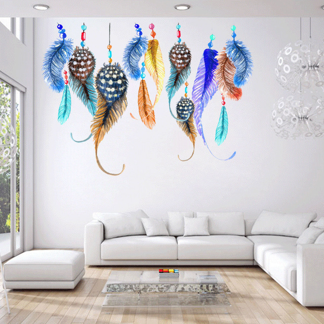 Beau Colorful Feathers Wall Stickers Decals Women Home Salon Bedroom Window  Furniture Africa Decor Ethnic Arts Wall