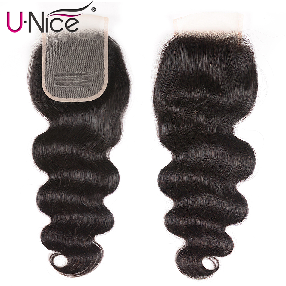 Unice Hair Closure Body-Wave Lace-Color Transparent Brazilian Remy Hand-Tied 4--4