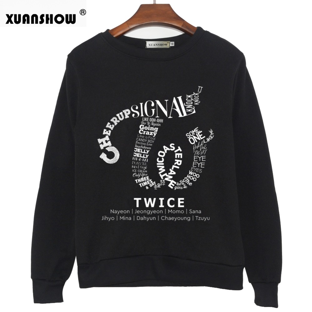XUANSHOW 2018 TWICE Kpop Sweatshirt Hip Hop Album Shirt Casual Letters Printed Hoodies Clothes Pullover Printed