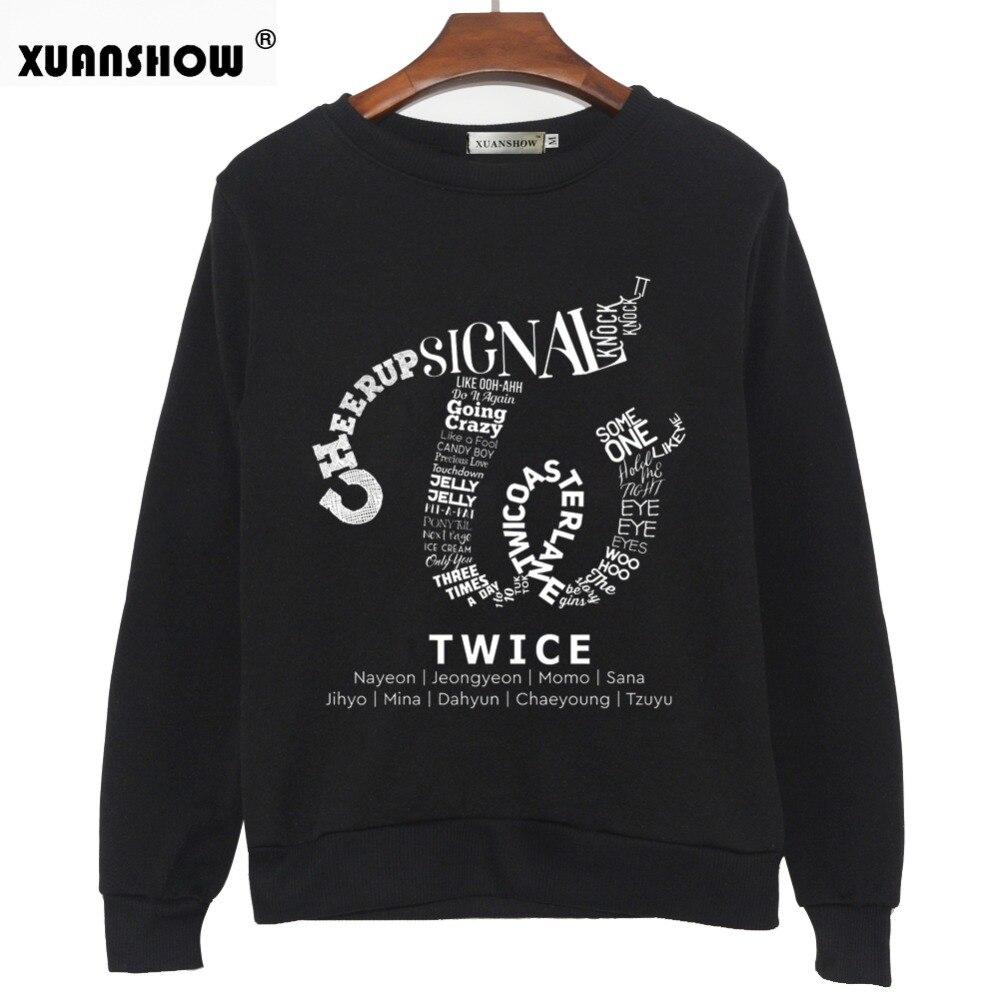 XUANSHOW 2018 dos veces Kpop sudadera Hip Hop Album camisa Casual letras impresas sudaderas ropa pulóver impreso manga larga Tops