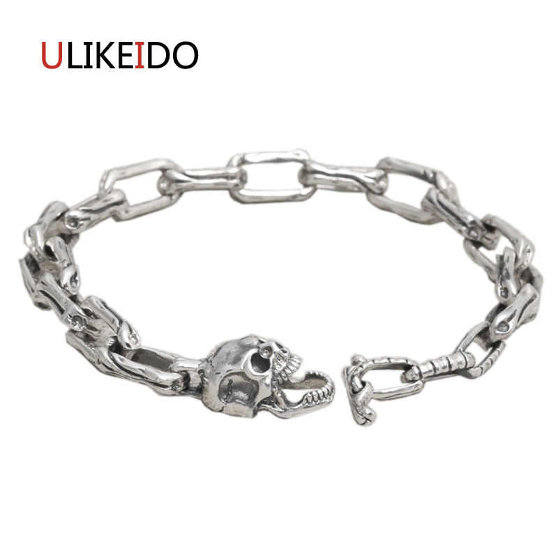 100% Pure 925 Sterling Silver Skull Bracelets Fashion Classic Hand Chain For Men Special Skeleton Jewelry Charm Bracelet 323