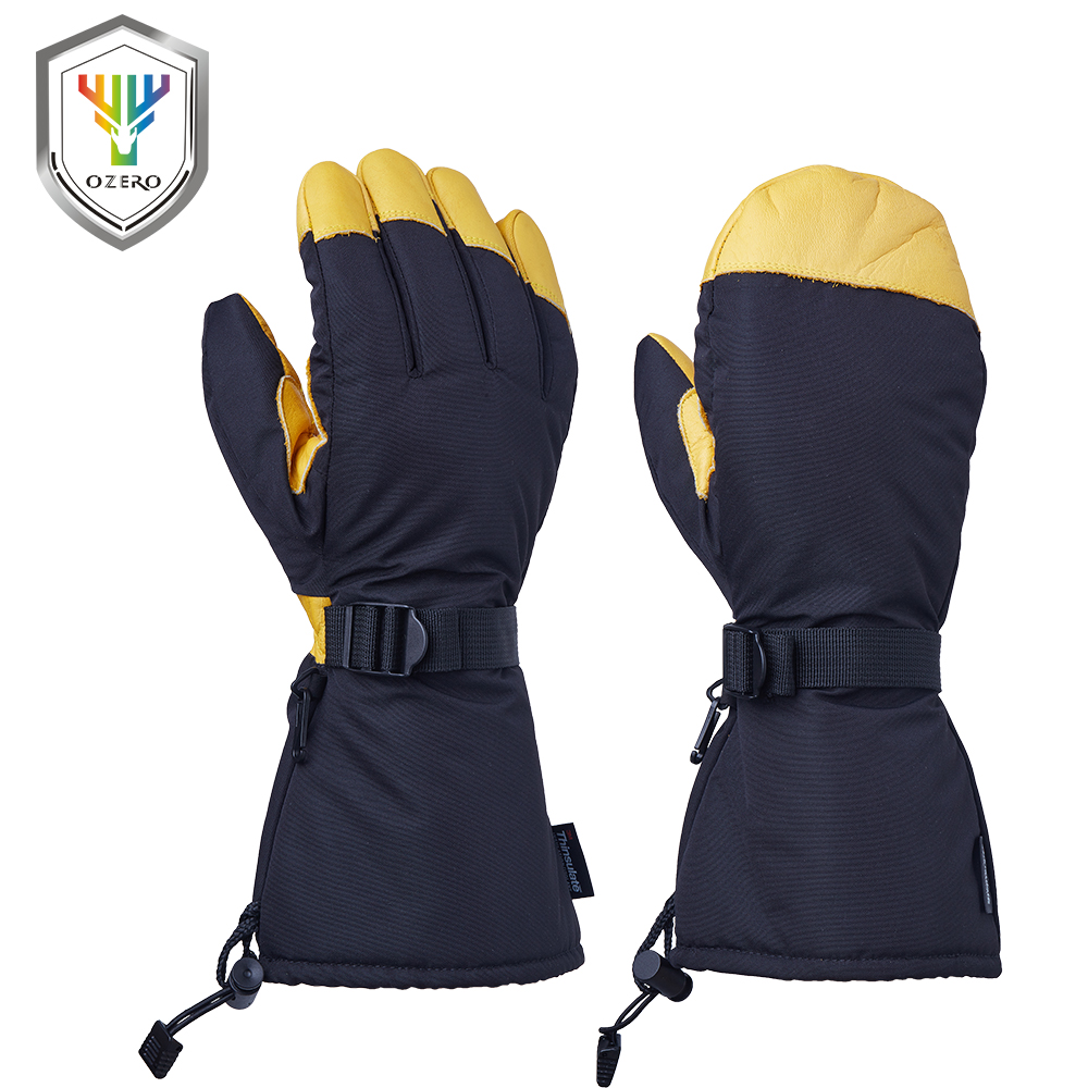 Learned Ozero Winter Gloves Cowhide Leather Ski Skiing Windproof Waterproof Warm Sports Motorcycle Riding Snow Ski For Men Woman 9008 Grade Products According To Quality