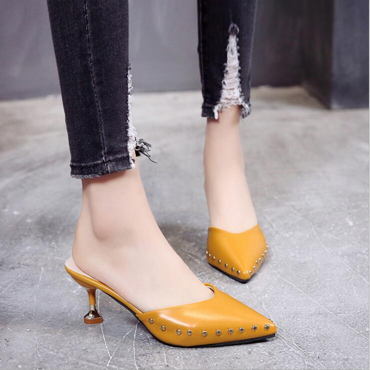 Candy-colored slippers 2019 summer new pointed rivets with high heels flip flops slippers Female sandals Sandalias femenina s084 5