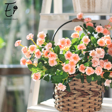Erxiaobao Lovely 5 Heads Mini Pink Yellow Purple Roses Artificial Flowers Fake Silk Flower Plants for Wedding Home Decor