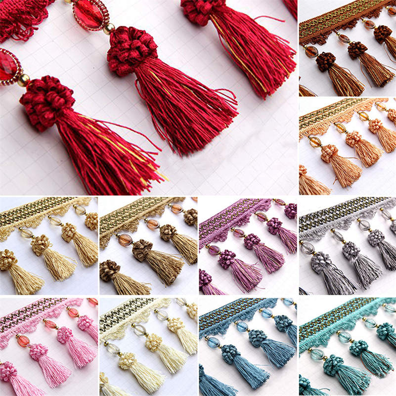 1M Pom Pom Curtain Fringe Trim Beads Ball Tassel Sewing Ribbon Upholstery Fabric