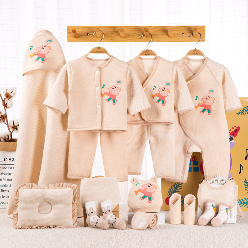 0 6M Newborn Baby Set Boy Clothes 100 Cotton Infant Suit Baby Girl Clothes Outfits Pants Baby Clothing Hat Bib in Clothing Sets from Mother Kids