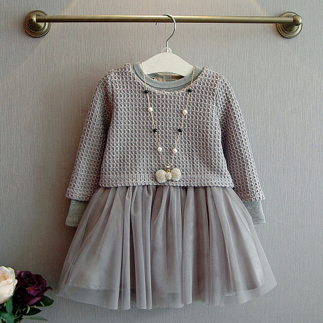 Primavera Outono Crianças Crianças Roupas de Tricô Conjuntos de Vestido de Manga Longa Vestidos de Duas Peças Traje Terno Conjuntos de Roupas Crianças 3-7Y Menina