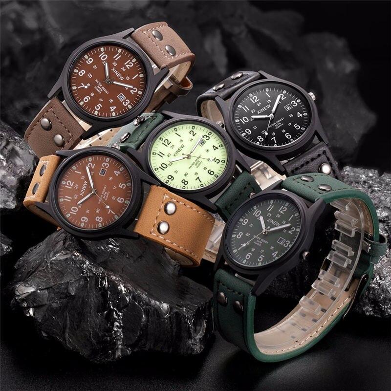 Vintage Classic Men's Waterproof Male Clock Date Leather Strap Sport Quartz Army Watch Luxury Watch Men Relogio Masculino#YY