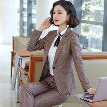 2019 Autumn high quality Women grid Jacket & Pant suits turn-down collar Blazer