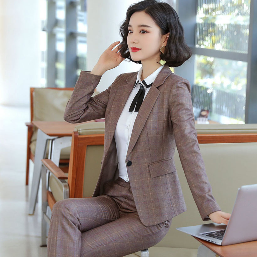2019 Autumn High Quality Women Grid Jacket & Pant Suits Turn-down Collar Blazer & Pants Female Plus Size Suit OL 2 Pieces Set