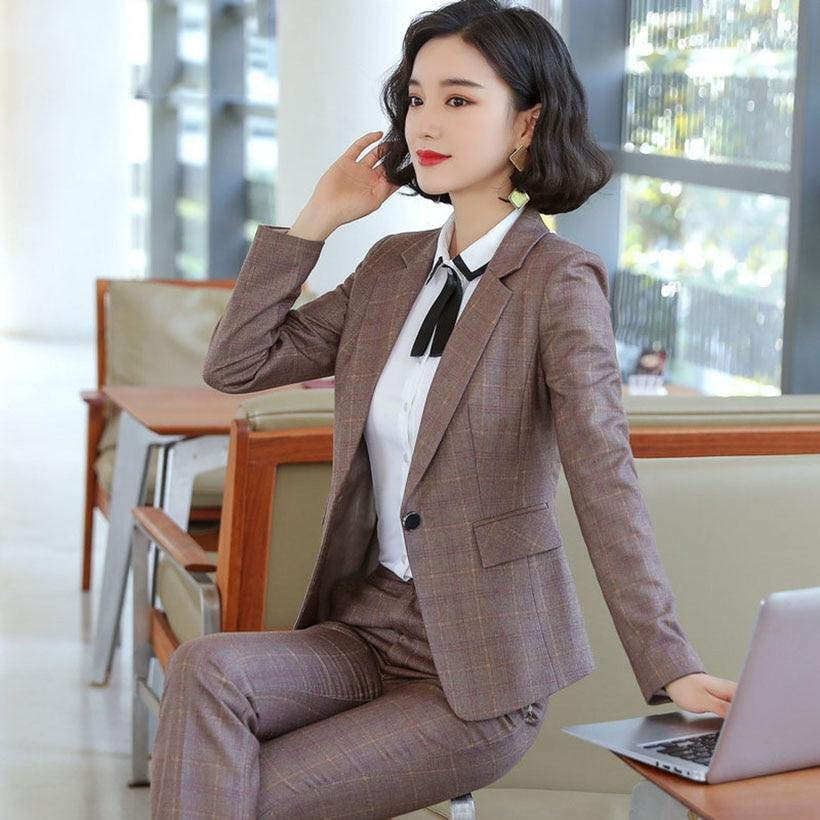 2019 Autumn High Quality Women Grid Jacket & Pant Suits Turn-down Collar Blazer & Pants Female Plus Size Suit OL 2 Pieces Set