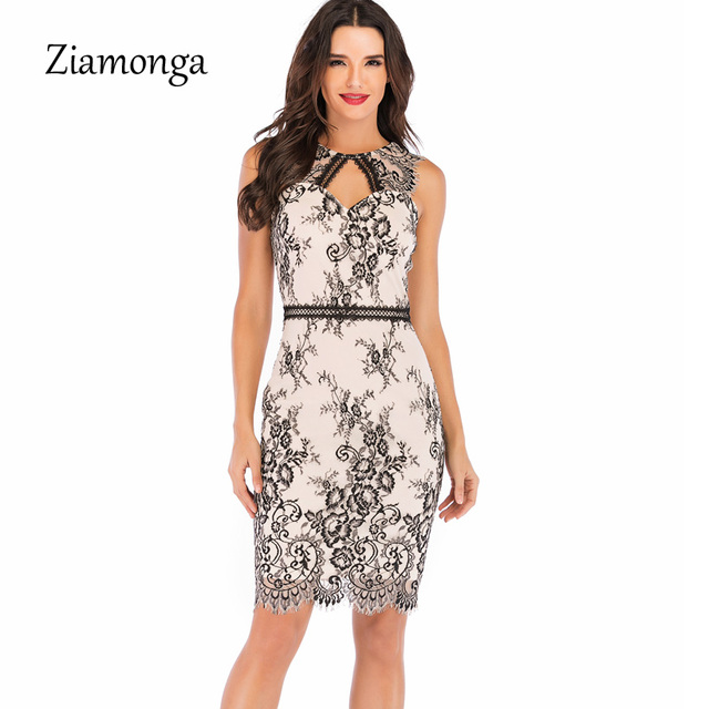 394fa3a31cf79 Ziamonga Elegant Wedding Party Lace Dresses Women Retro Tunic Slim Work  Business Casual Dress Sexy Party
