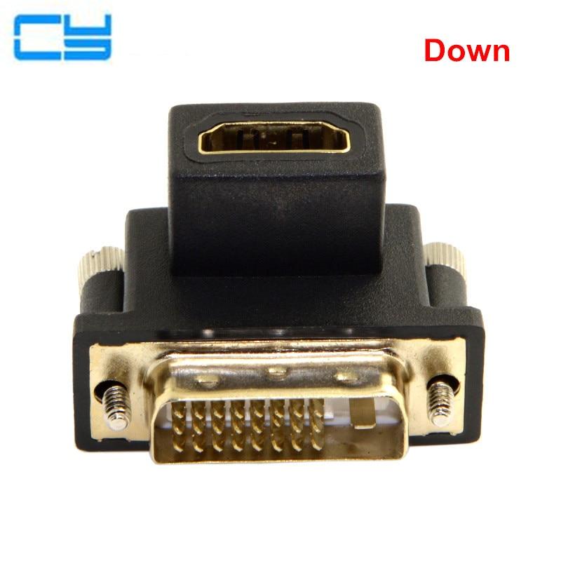 90 градусов вверх и Подпушка угловой изгиб HDMI к DVI Женский Мужской разъем адаптера для ноутбуков настольных ПК видеокарты