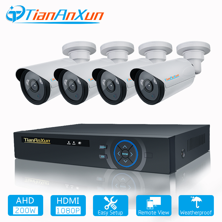 TIANANXUN Security Camera System 4ch CCTV System DVR DIY Kit 4 x 1080P Security Camera 2.0mp Camera Surveillance SystemTIANANXUN Security Camera System 4ch CCTV System DVR DIY Kit 4 x 1080P Security Camera 2.0mp Camera Surveillance System
