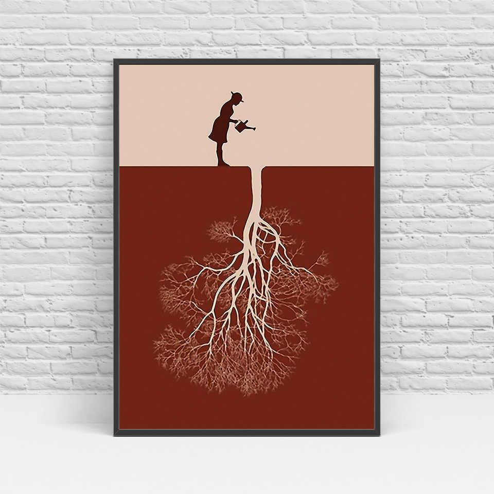Artsailing خلاصة الشمال قماش الفن فتاة مع الخيال شجرة اللوحة غرفة المعيشة الحديثة المنزل الديكور الملصقات