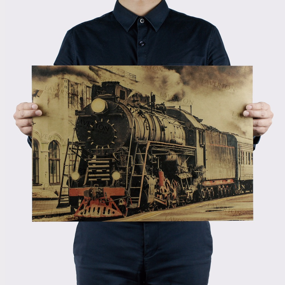 Retro Train Rail/Famous View/classic Photo/kraft Paper/bar Poster/Retro Poster/decorative Painting 51x35.5cm