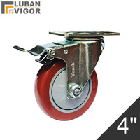 4 inch ,red PVC wheels/casters,Trolleys wheel with brake,fixed shaft,Wearable,mute,Bear 130kg,Industrial casters