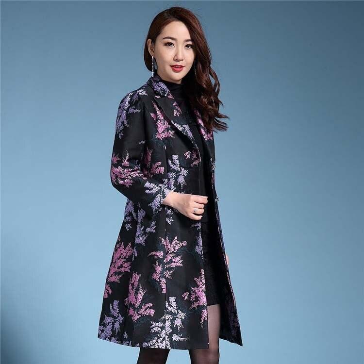 Большие размеры S 4XL 2018 Тренч женский с круглым вырезом жаккардовая верхняя одежда Добби женские тренчи мать цветок из текстиля пальто тренчи - 2