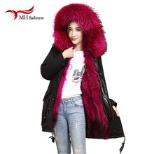 Army Green Cold winter coat women long real fur coat big raccoon Fur collar hooded thick warm Parkas Raccoon Dog coat A#45 children winter big real raccoon fur hooded thick warm parkas jackets boy girls fashion 2018 casual real liner coats bing bunny