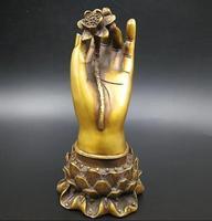 Chinese pure brass Buddha Hand hold Lotus crafts statue