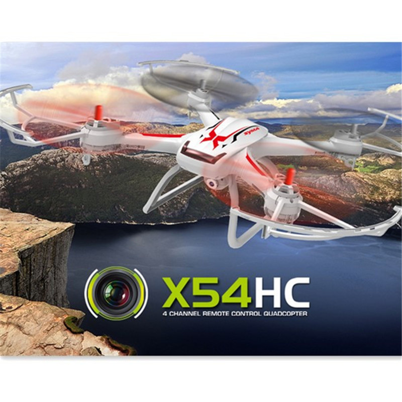 Syma X54HC With 2MP 720P HD Camera 2.4G 4CH 6Axis Altitude Hold LED RC Quadcopter RTF Barometer Set Height Drone jjr c jjrc h43wh h43 selfie elfie wifi fpv with hd camera altitude hold headless mode foldable arm rc quadcopter drone h37 mini