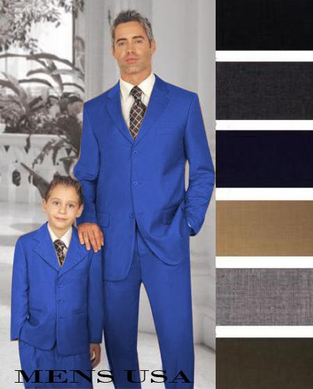 new design custom made royal blue father and son matching suits