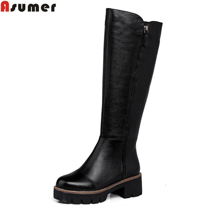 Asumer Plus size 34-43 new fashion pu+genuine leather boots round toe platform boots womens autumn winter knee high boots shoes doratasia big size 34 43 women half knee high boots vintage flat heels warm winter fur shoes round toe platform snow boots