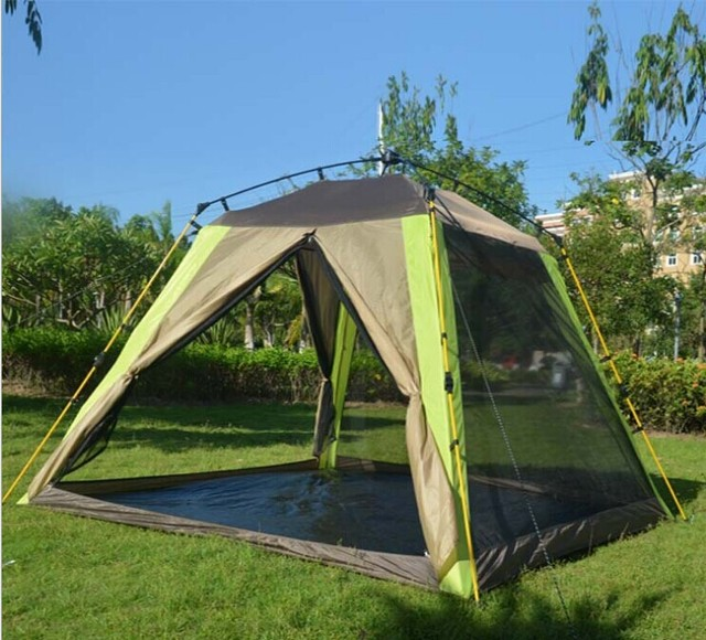 Automatic double outdoor tent camping tent 3-4 people camping outdoor tent roof Quartet