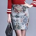 Saias Das Mulheres 2016 Outono Inverno De Lã Saia Saias Lápis Midi Ocasional Fino de Impressão Moda Feminina de Cintura Alta Saias Femininas
