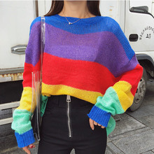 2018 Autumn New Fashion Rainbow Striped Shirt Lazy Wind Loose Sweater Winter Clothes Women