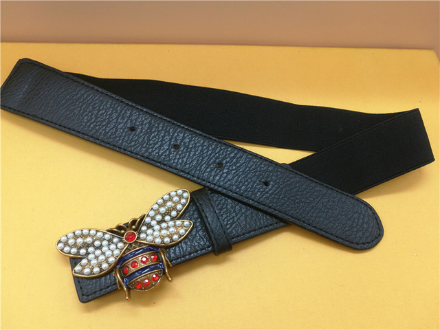 Best selling bee belt buckle with pearl decoration autumn and winter fashion ladies women's stretch bee belt bee elastic band