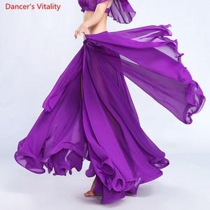 Image 2 - Женская юбка для танца живота сплошной цвет восточный танец костюм с высоким вырезом индия болливуд односторонняя сплит танец живота длинная юбка