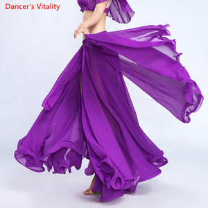 Image 2 - Women Belly Dance Skirt Solid Color Oriental Dance Suit High cut India Bollywood Unilateral Split Belly Dance Long Skirt