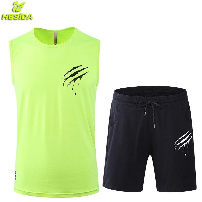 2 pièces ensemble de course hommes T Shirt Shorts débardeur Football Football Basketball Jersey Sport porter costume de Sport hommes vêtements de Fitness