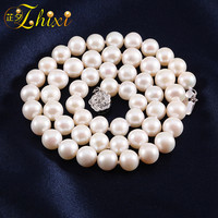 ZHIXI Freshwater Pearl Necklace Pearl Jewelry Fine Natural Stone Chokers For Woman Trendy 8 9 Near