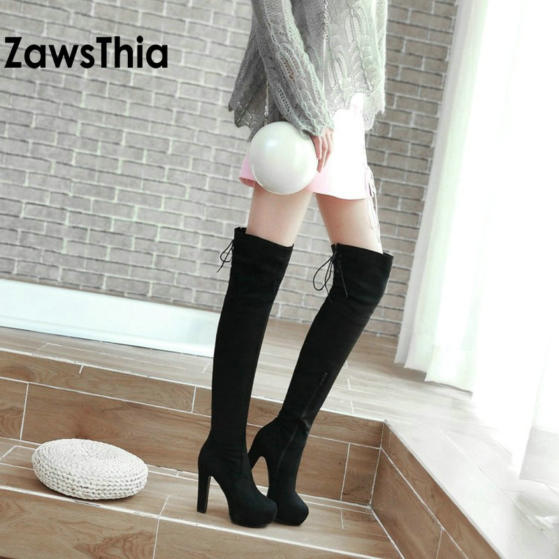 ZawsThia winter warm stretch fabric thigh boots 11.5cm block high heels shoes for woman over the knee high boots plus size 41 43