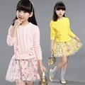 Девушки зимняя одежда набор свитер + цветочные юбки 2 шт. 2016 с длинным рукавом мода детская одежда наборы