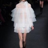 우수한 품질 새로운 2017 봄 여름 디자이너 활주로 dress 여성의 flare 소매