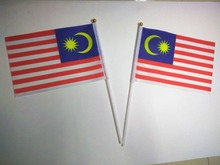 Wholesale Hand wave country banners Malaysian small National flags polyester materials with pole 14*21 cm