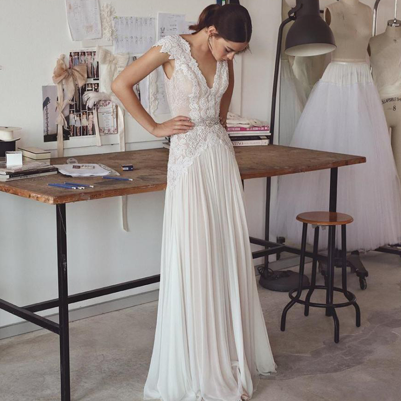 Vestido De Noiva V Neck Ivory Boho Wedding Dress With Lace Beads 2020  Bridal Gown Robe De Mariee