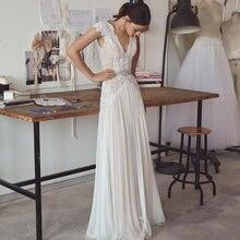 Свадебное платье Бохо цвета слоновой кости с v образным вырезом