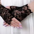 Envío Libre barato Nupcial Guantes de Encaje Fabuloso Diamante Flor Accesorios Vestido de Novia Niña de las FLORES guantes Guante negro