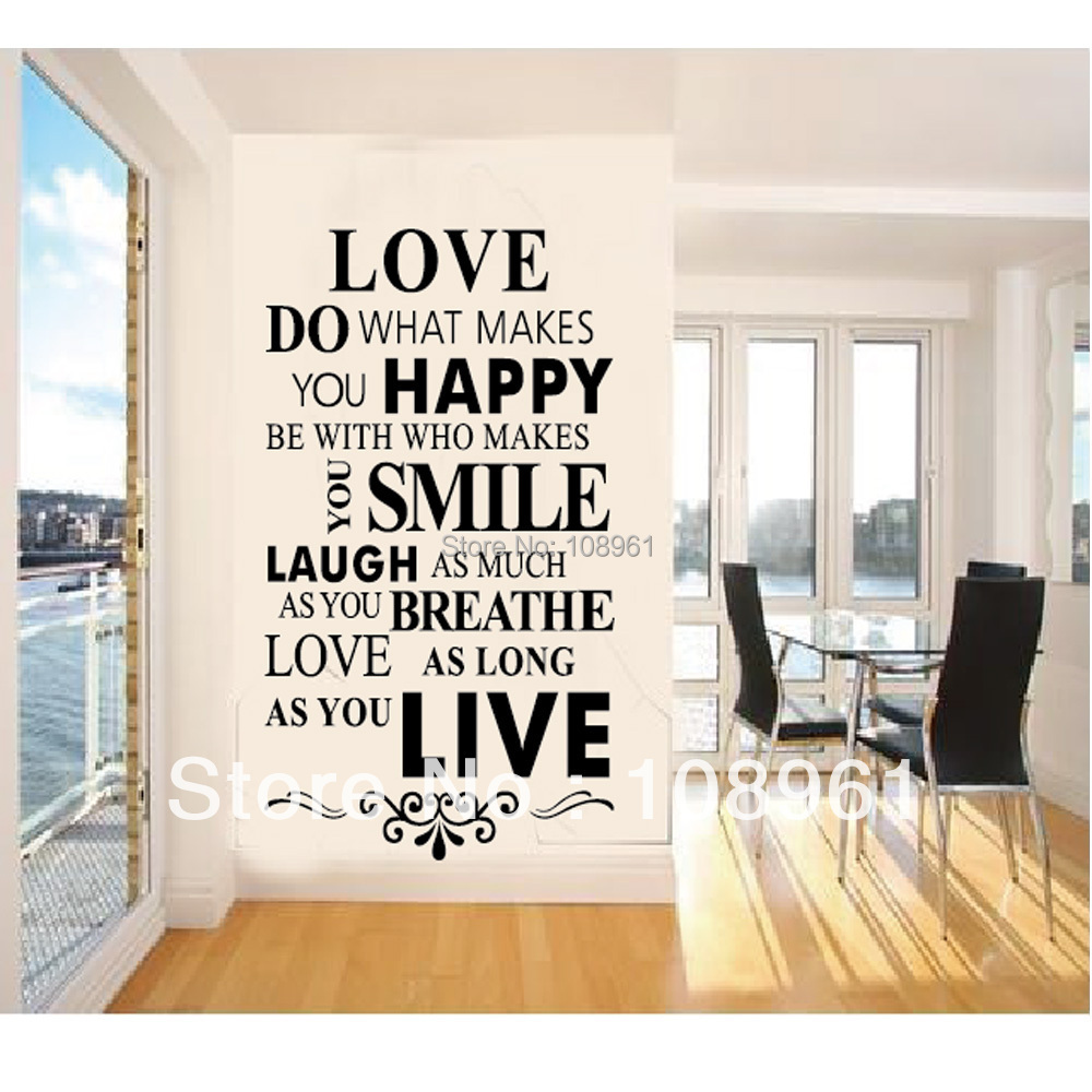 Love do what makes you happy be with who makes you smile black quotes wall stickers home decals decor living room